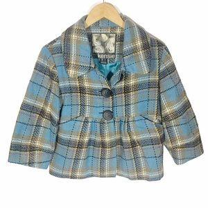 Kensie Cropped Plaid Peplum Jacket, Size S